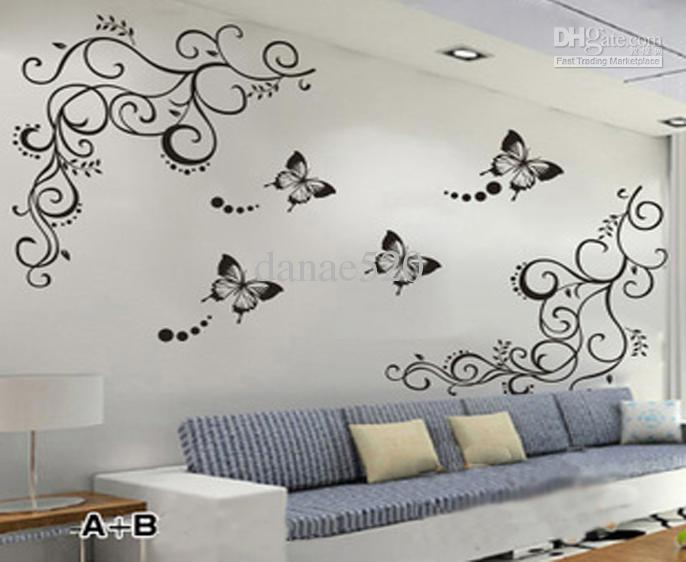 decals for walls butterfly vine flower wall art stickers decals wall paster house PKDIUER