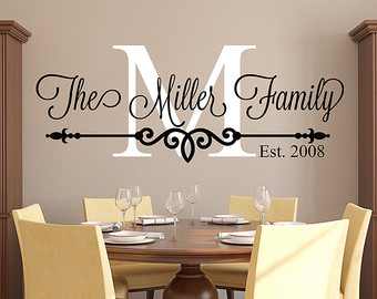 decals for walls family name wall decal - personalized family monogram - living room decor - DCBWKWW