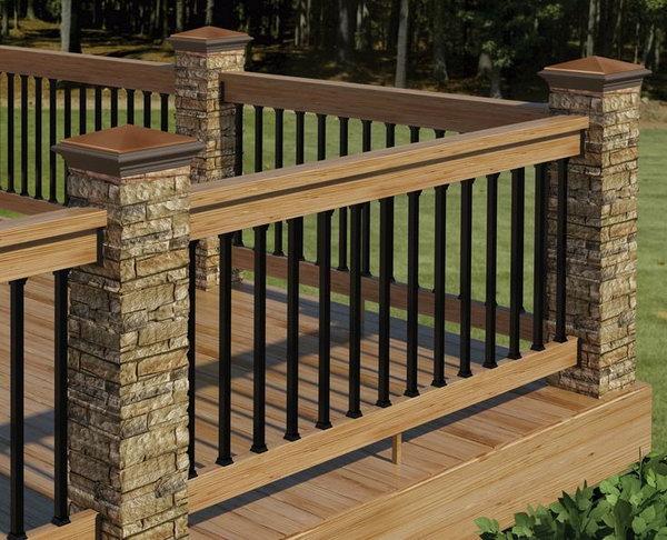 deck railing ideas stone, metal and wood deck railing EUURKEW