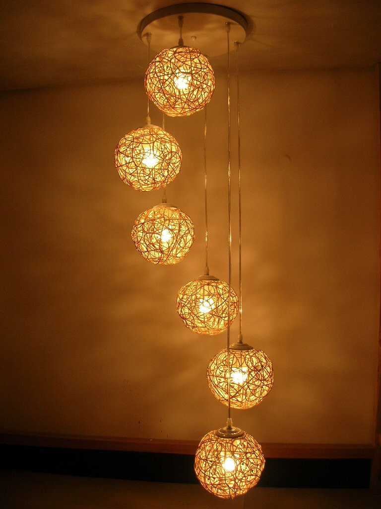 decorative lights free shipping handmade six beads spiral rattan lighting hand weaving  chandelier living NQBOJRP