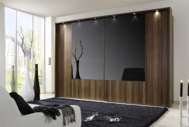 designer wardrobe walnut wood u0026 black glass wardrobe KDEGRJS
