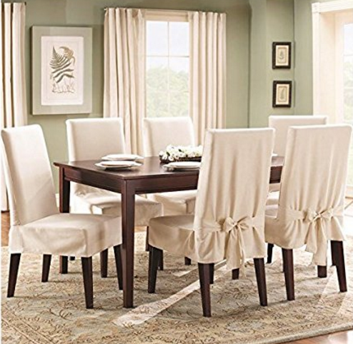 dining room chair covers sure fit cotton duck shorty dining room chair cover, natural KBRKAPW