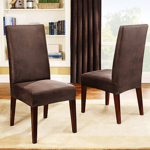dining room chair covers sure fit stretch leather dining room chair cover, brown QOSIESG