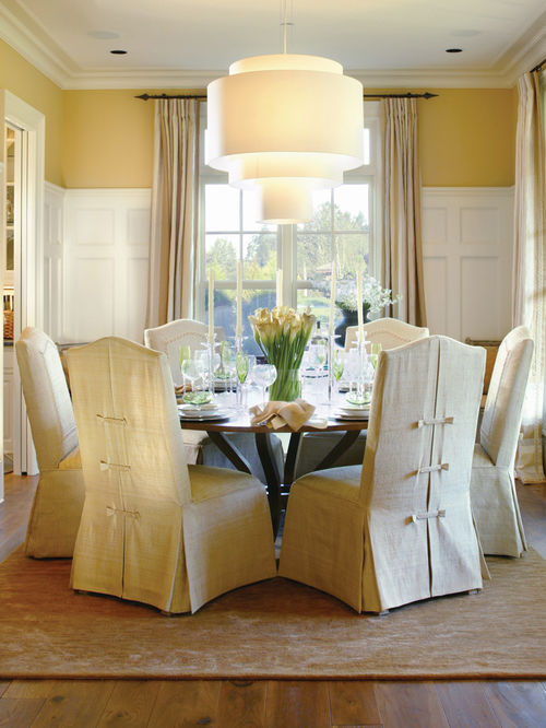 dining room chair covers traditional dining room idea in portland with yellow walls and dark  hardwood XHVVISJ