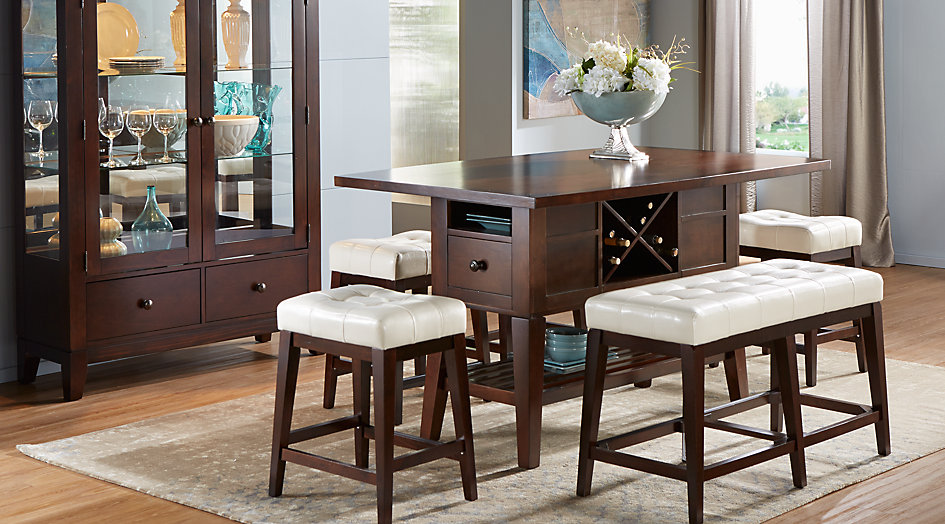 dining room furniture sets julian place chocolate/vanilla 5 pc counter height dining room ZOETQBB