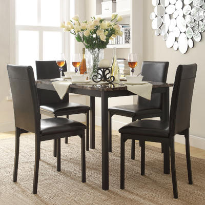dining table set oxford creek mio faux marble 5-piece casual dining set GNIOENM