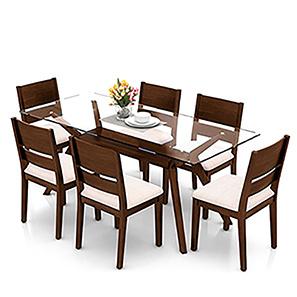 dinner table set wesley - cabalo (fabric) 6 seater dining table set (beige, dark walnut GMTXKAZ