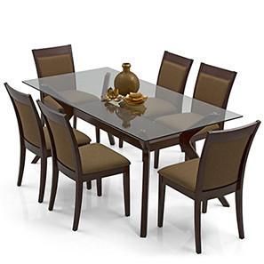 dinner table set wesley - dalla 6 seater dining table set (cappuccino, dark walnut finish) KRWVHOD