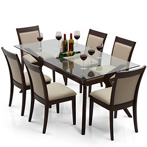 dinner table set wesley - dalla 6 seater dining table set (dark walnut finish, latte) ZEXTKXH
