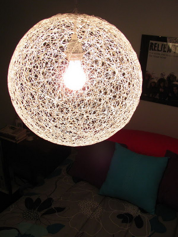 diy chandelier diy string chandelier from a bouncy ball and yarn RAUTFDZ