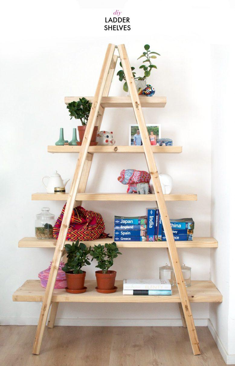 diy ladder shelves IMWPLNA