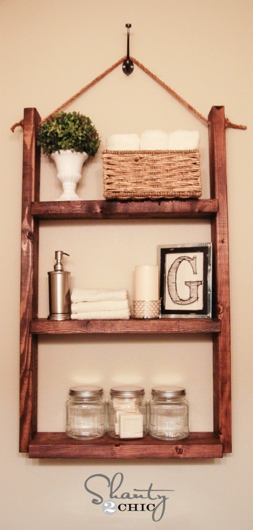 diy shelves $10 hanging bathroom shelf FFGKGQV