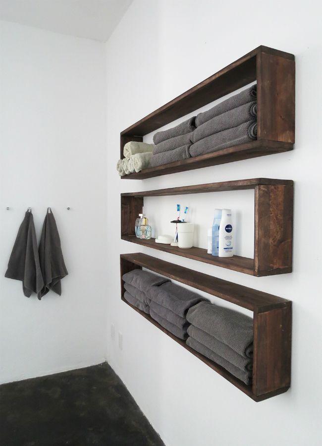 diy wall shelves - hanging storage for an organized bathroom CPRXHDM