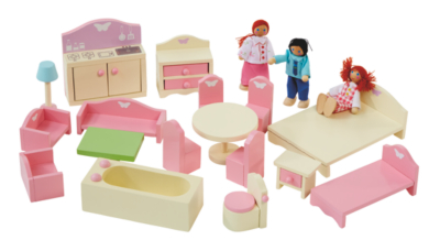dolls house furniture george home wooden doll house furniture set | kids | george at asda IDUQKUS