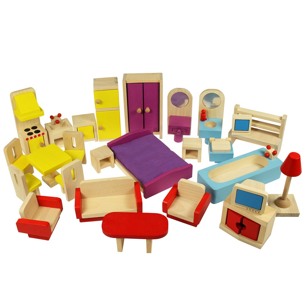 dolls house furniture set in wood. bigjigs jt116. suitable for ages 3 OJJICWU