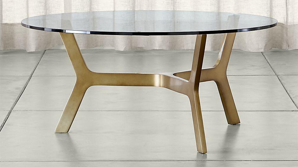 elke round glass coffee table with brass base ... SPASWBZ