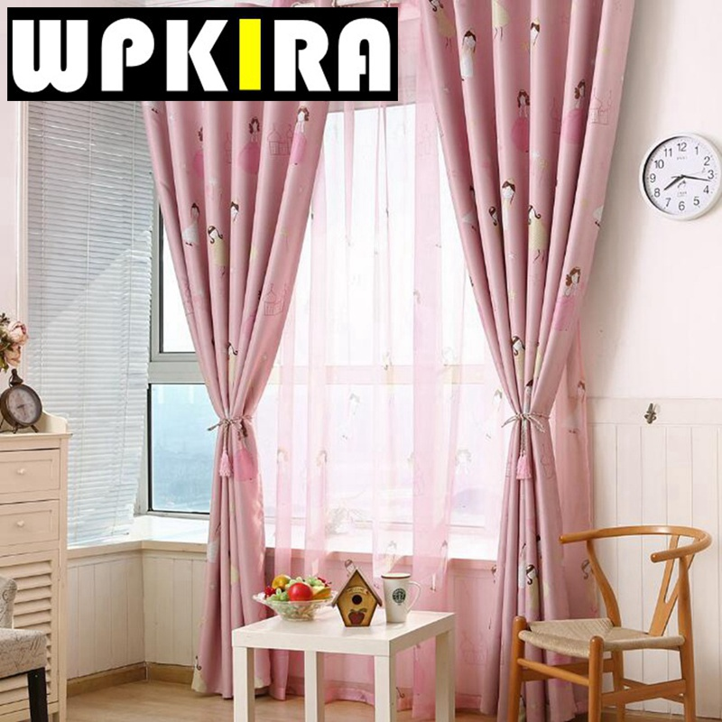 fashion cute princess curtains for girls room bedroom cartoon printed pink  curtain ZWITAUZ