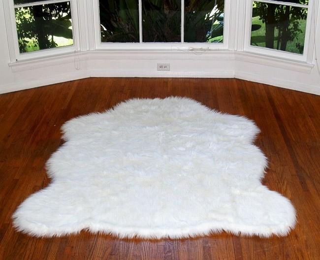 faux fur rug faux arctic polar bear rug white CJQPSPL