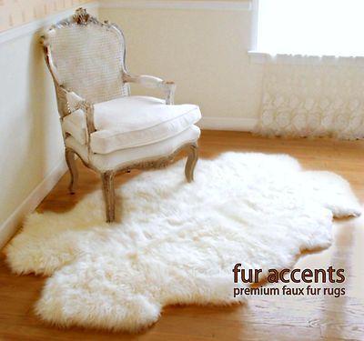 faux fur rug white sheep skin accent ONGBKSN