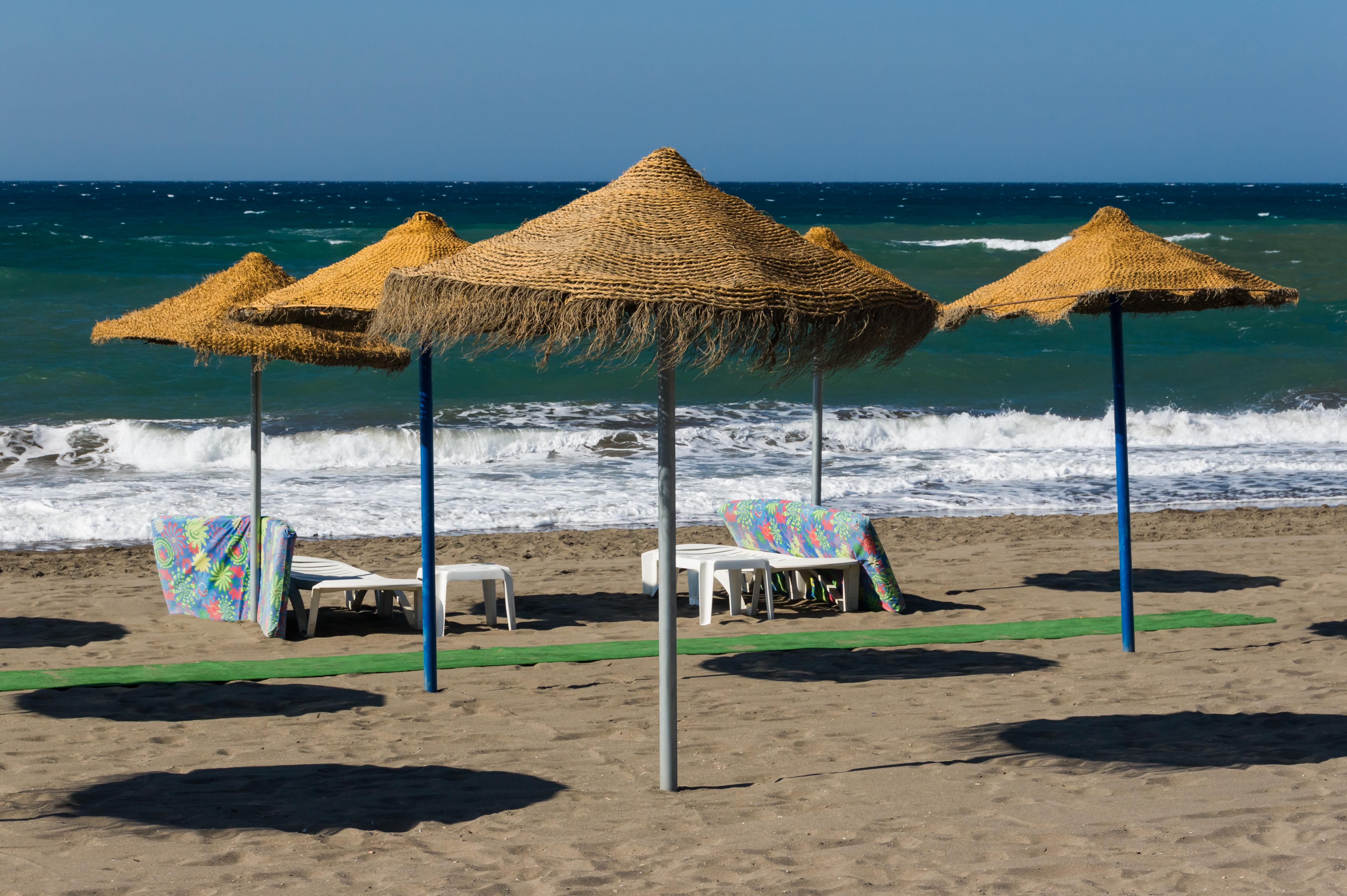 file:parasols, beach furniture, beach, rincon de la victoria, andalusia, NGZZMXH