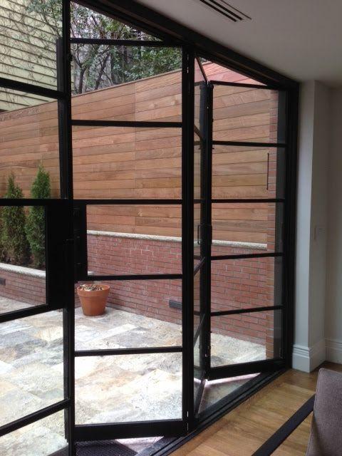 folding doors portella projects: manhattan brown stone - steel bi-fold and steel f.. KNUADKV