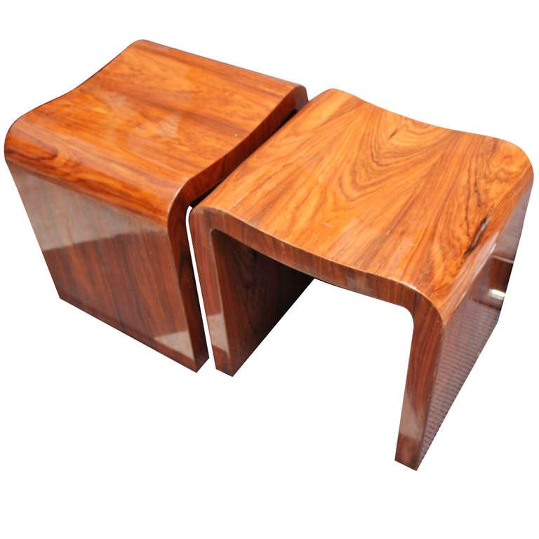 foot stools 1stdibs | pair of wooden footstools/side tables RPITGVU