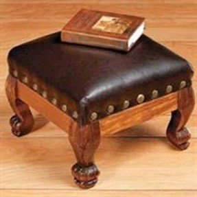 foot stools brown faux leather wood footstool foot stool rest hassock decor AHBYSEJ
