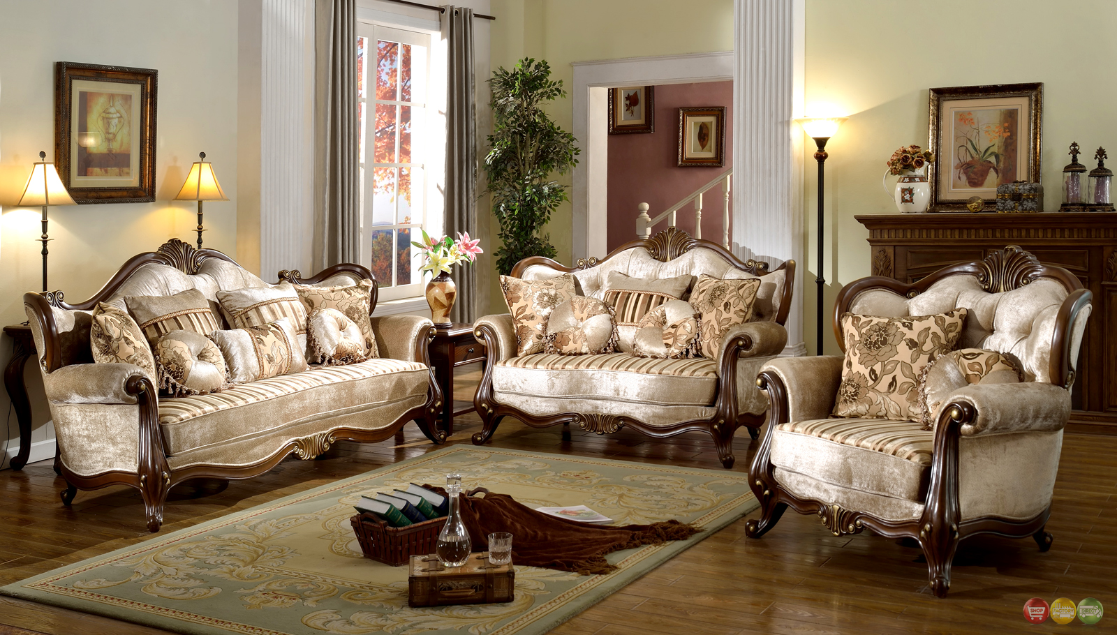 french provincial formal antique style living room furniture set beige  chenille OPPCRWE