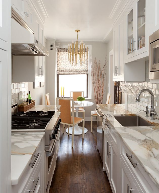 galley kitchens cozy manhattan apartment combines vintage flare with modern touches. small galley  kitchensdream FDQEVAU