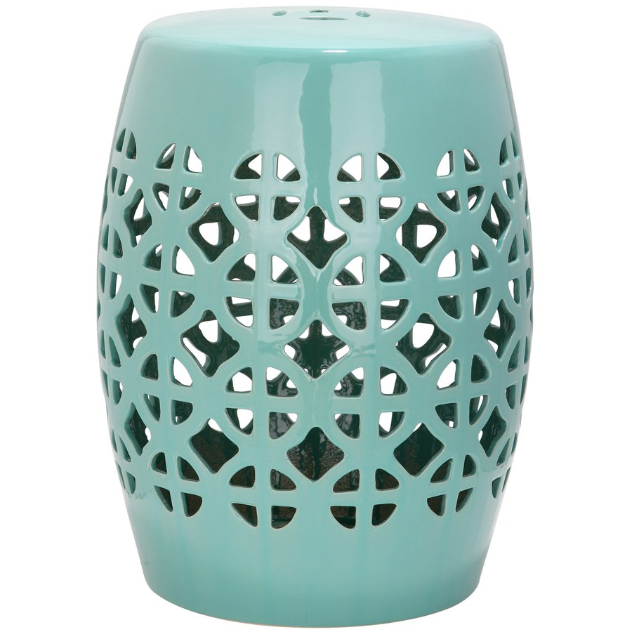 garden stools safavieh 18.5-in robins egg blue ceramic barrel garden stool AWKETGP