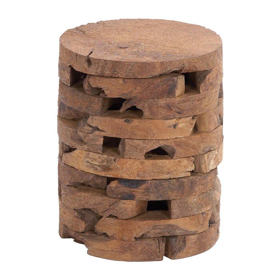 garden stools woodland imports 18-in natural teak barrel garden stool TCBNFSD