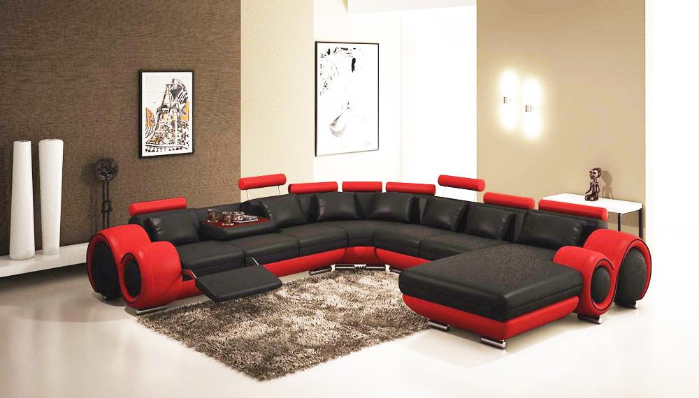 gemma modern black and red sectional sofa VETQOIK