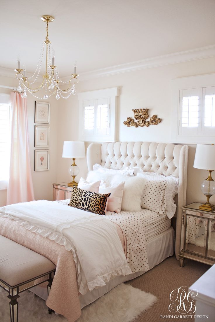 girl bedroom ideas pink and gold bedroom featuring tufted wingback headboard by randi garrett  design IAGFGNO