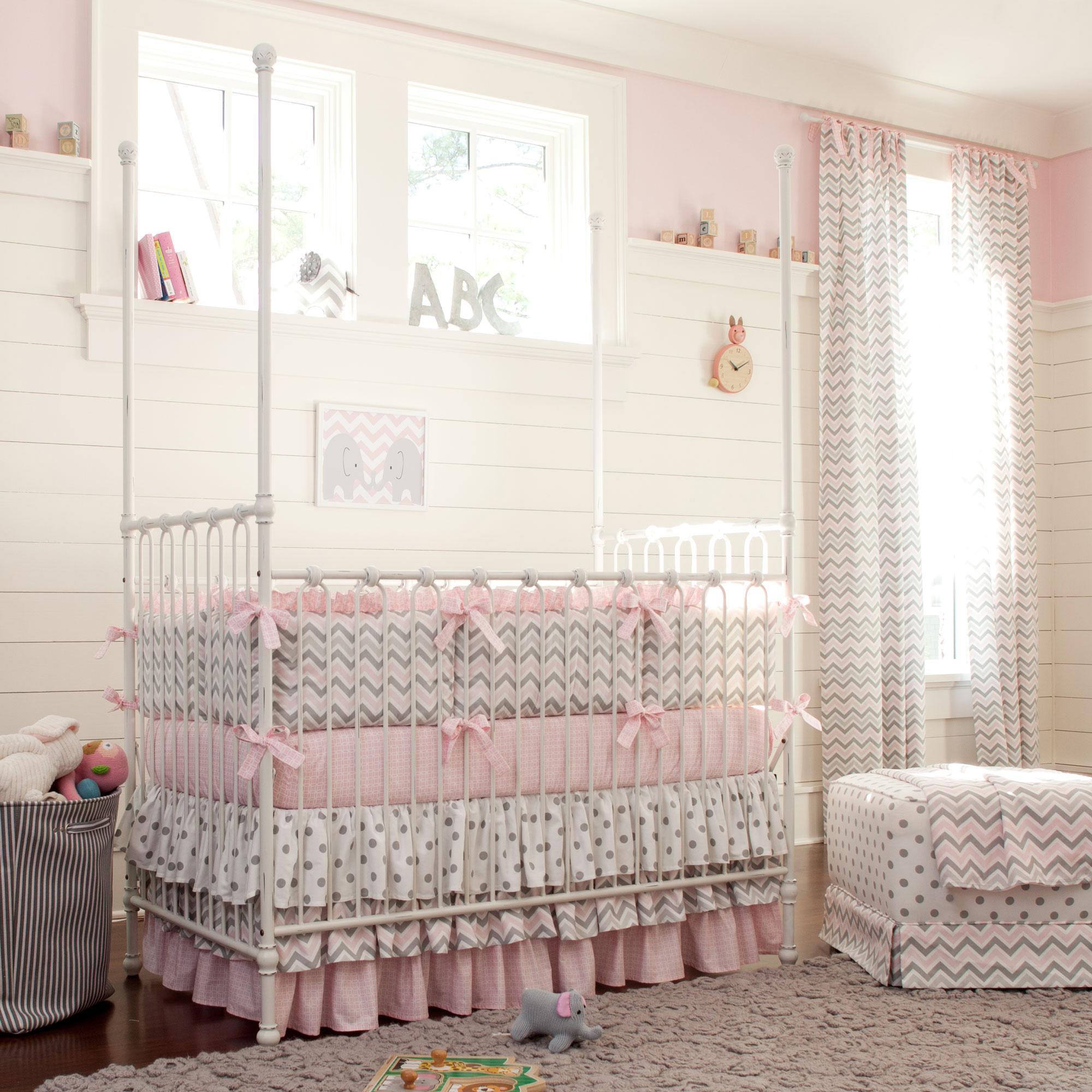girl crib bedding pink and gray chevron baby crib bedding XJQDZRE