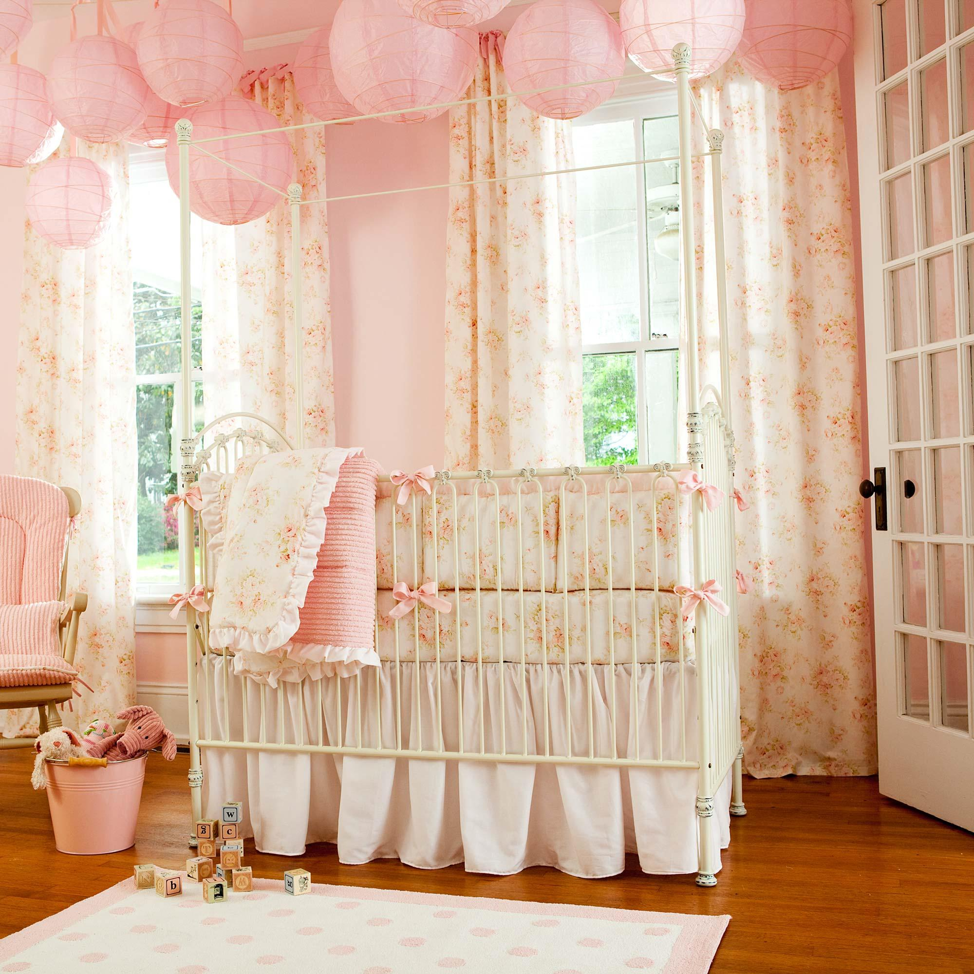 girl crib bedding shabby chenille baby bedding collection KNTCDCB