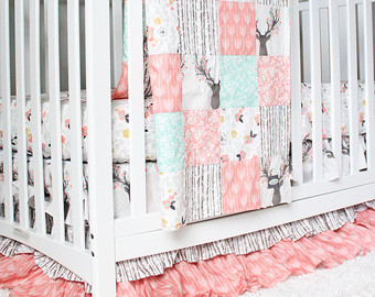 girl crib bedding, woodlands fawn girl baby bedding, baby girl deer crib KGWMDDM
