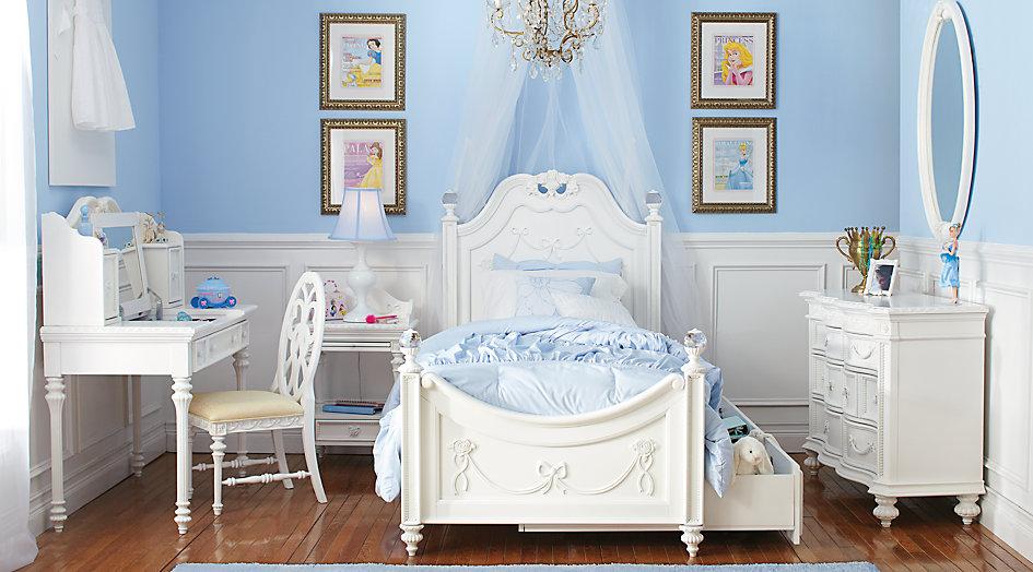 girls bedroom sets disney princess white 5 pc full poster bedroom VQZLPMS