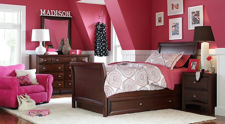 girls bedroom sets ivy league cherry 6 pc full sleigh bedroom EVCKVQJ