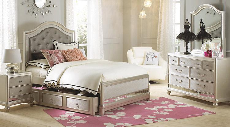 girls bedroom sets sofia vergara petit paris champagne 6 pc full panel bedroom UKCROVQ