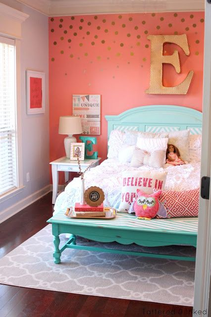 girls bedrooms tattered and inked: coral u0026 aqua girlu0027s room makeover QAJEIJW