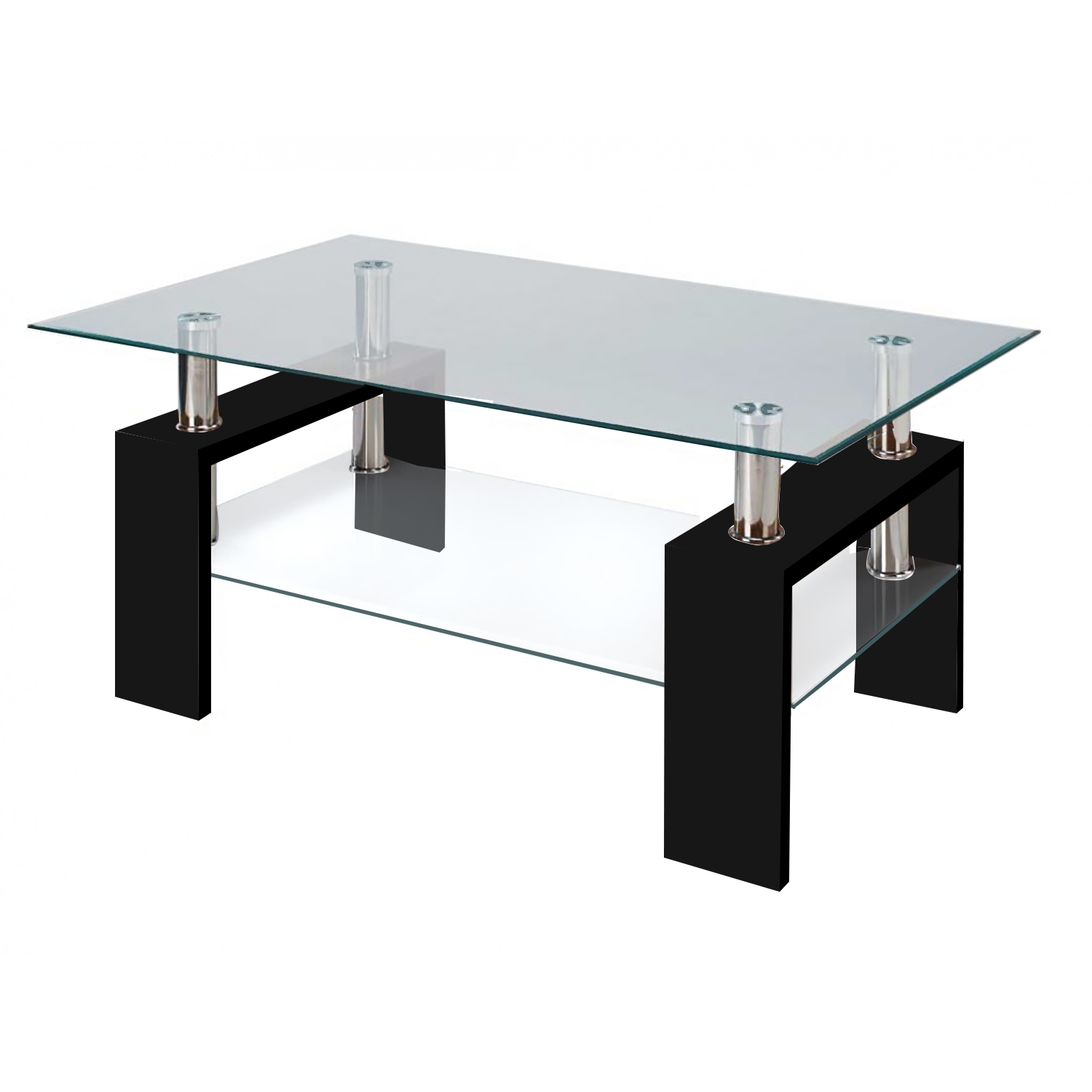 glass table modern glass black coffee table with shelf contemporary living room JWFAJML