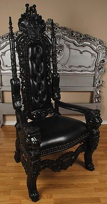 gothic furniture carved mahogany king lion gothic throne chair black paint with black leather CFAQAHL