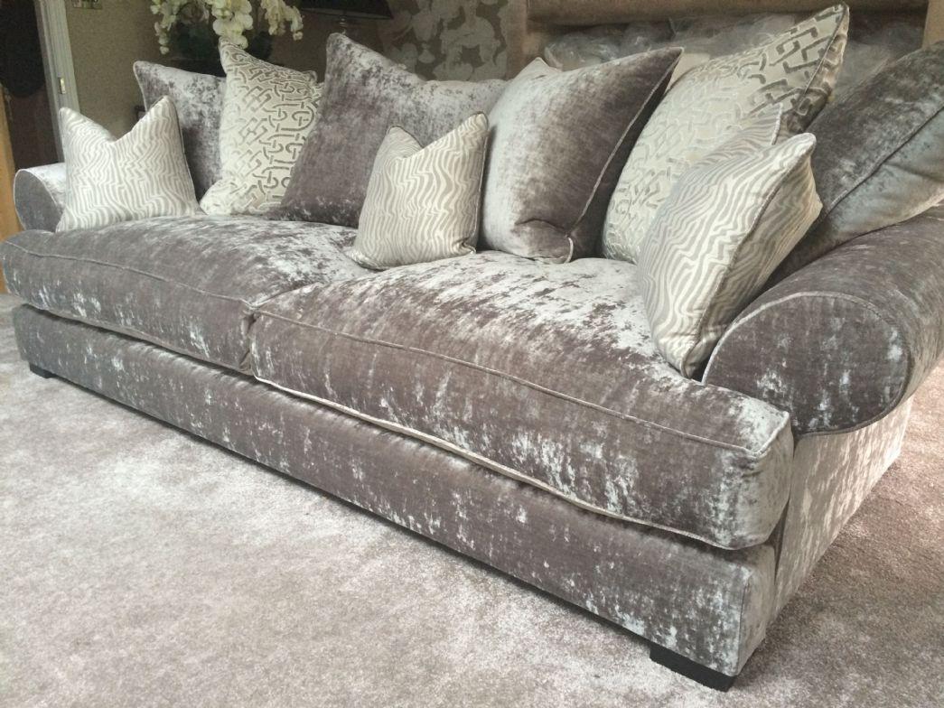 grey crushed velvet sofa - google search EKHPWZW
