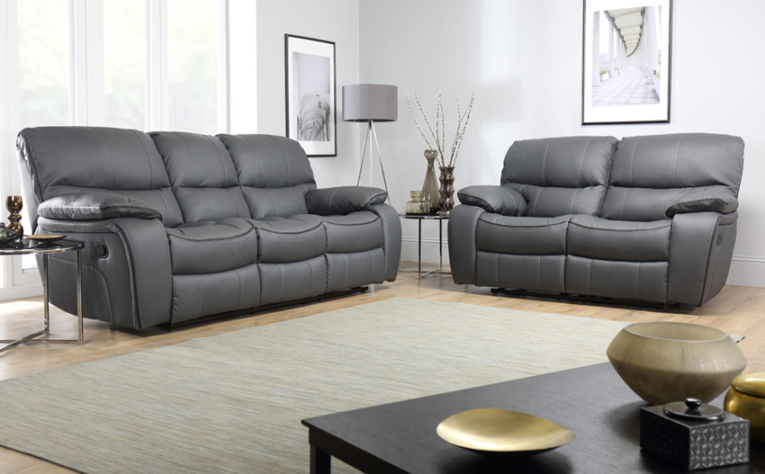 grey leather sofas beaumont grey leather recliner sofa 3+2 seater RUHLMTK