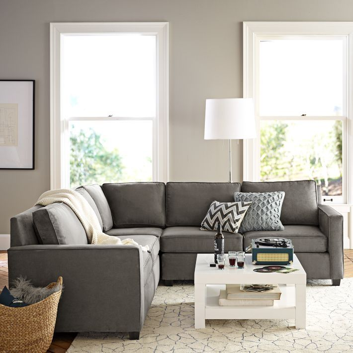 grey sofas possible floor plan with sectional sofa, rug and coffee table. PXGPLAF