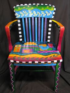 hand painted furniture artsy painted chair - i have a couple of chairs shouting out for QKLVXBI