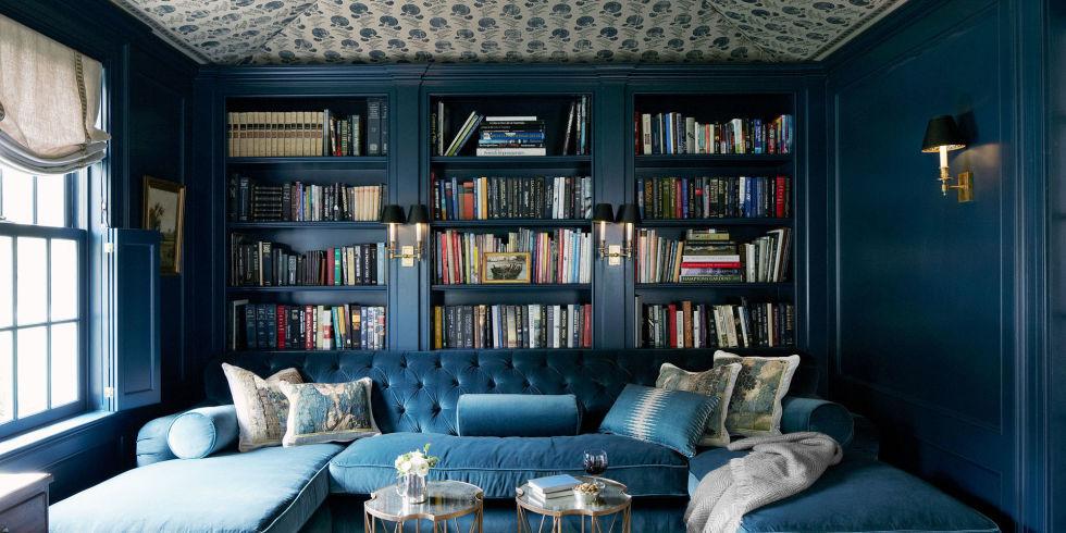 home library design blue velvet tufted sofa HLSTYRF