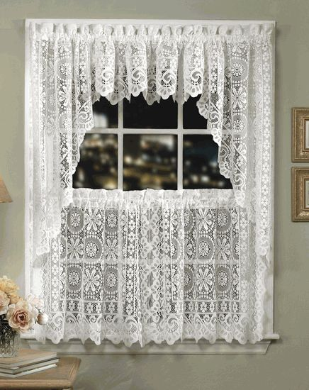 hopewell lace kitchen curtains - cream - lorraine - country kitchen curtains DRTJVYW