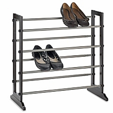 image of 4-tier expandable shoe rack in mahogany GZOLUCX