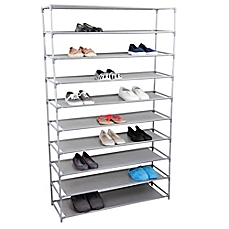 image of home basics® 10-tier plastic and fabric wide shoe rack in grey DLJFYGN